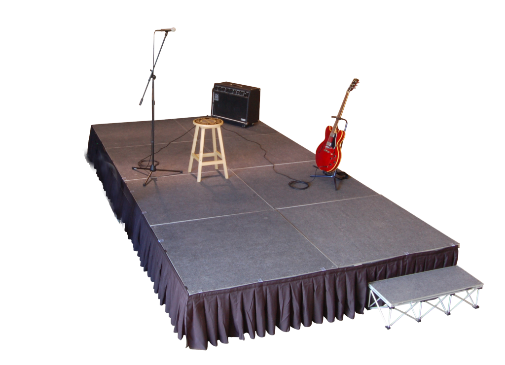 4 X 8 FOLDING STAGE WITH STEPS AND DRAPE