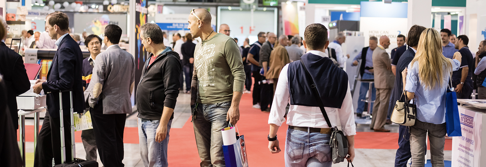 people at a trade show